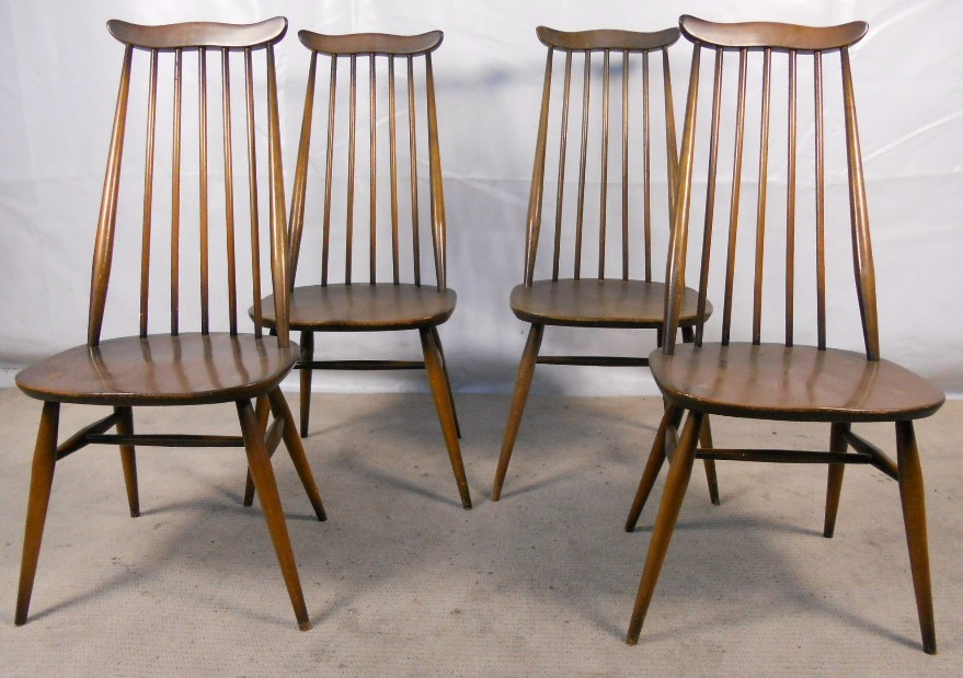 Set of Four Tall Elm Dining Chairs by Ercol   SOLD. of Four Tall Elm Dining Chairs by Ercol   SOLD